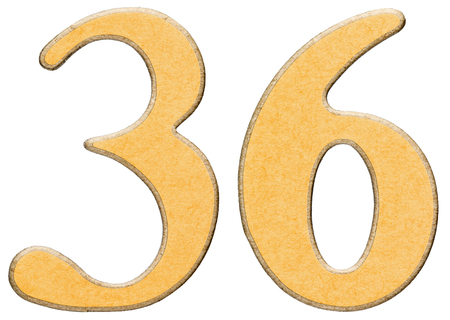 number 36: 36, thirty six, numeral of wood combined with yellow insert, isolated on white background