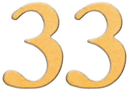 33, thirty three, numeral of wood combined with yellow insert, isolated on white background