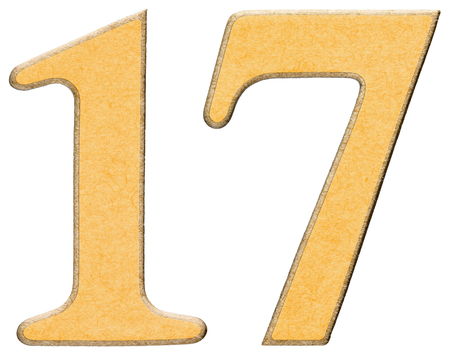 17, seventeen, numeral of wood combined with yellow insert, isolated on white background