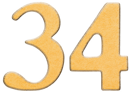 34: 34, thirty four, numeral of wood combined with yellow insert, isolated on white background