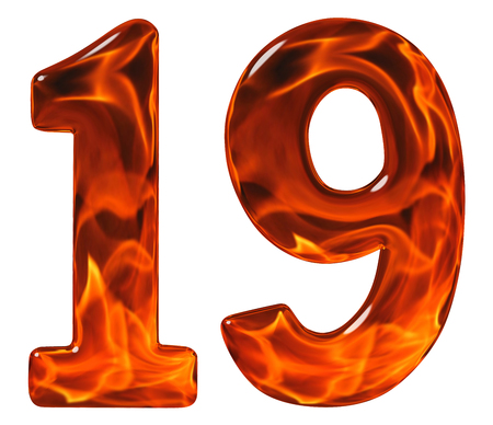 19, nineteen, numeral from glass with an abstract pattern of a flaming fire, isolated on white background Stock Photo
