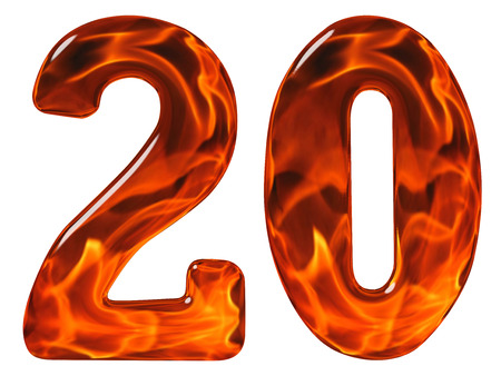 20, twenty, numeral from glass with an abstract pattern of a flaming fire, isolated on white background