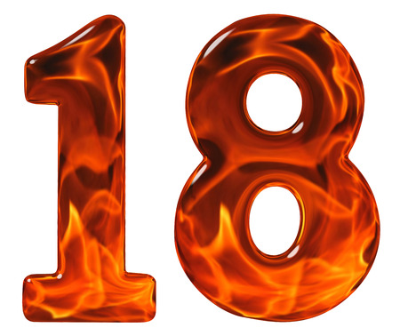 18, eighteen, numeral from glass with an abstract pattern of a flaming fire, isolated on white background