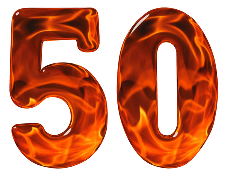 5.0: 50, fifty, numeral, imitation glass and a blazing fire, isolated on white background Stock Photo