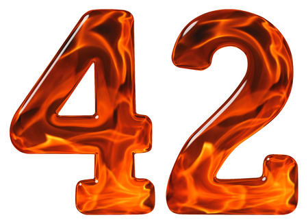 42, forty two, numeral, imitation glass and a blazing fire, isolated on white background Stock Photo