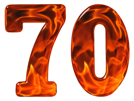 seventy: 70, seventy, numeral, imitation glass and a blazing fire, isolated on white background