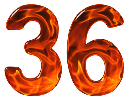 36, thirty six, numeral, imitation glass and a blazing fire, isolated on white background Stock Photo