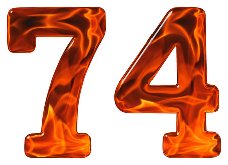seventy: 74, seventy four, numeral, imitation glass and a blazing fire, isolated on white background