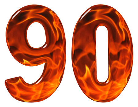 90, ninety, numeral, imitation glass and a blazing fire, isolated on white background Stock Photo
