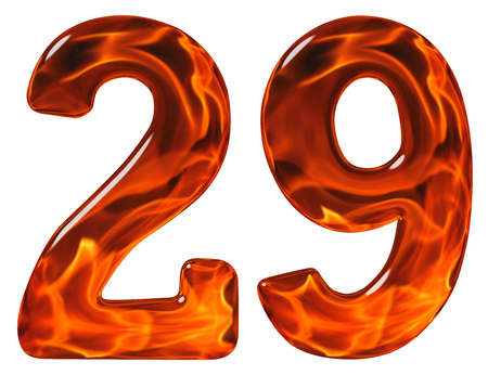 29, twenty nine, numeral, imitation glass and a blazing fire, isolated on white background Stock Photo
