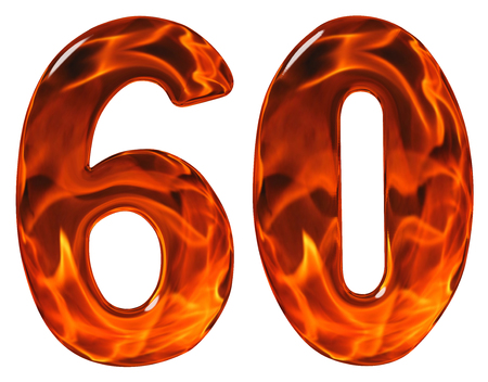 60, sixty, numeral, imitation glass and a blazing fire, isolated on white background