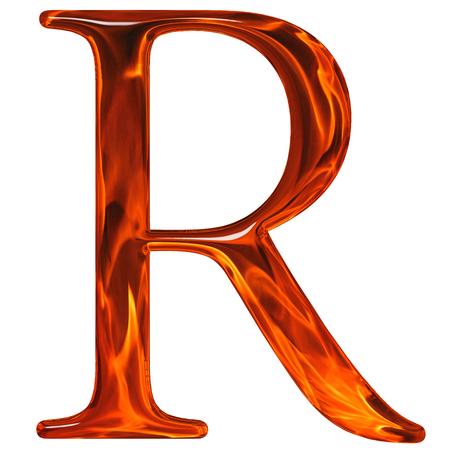 Hoofdletter R - de geëxtrudeerde van glas met patroon vlam, geïsoleerd op een witte achtergrond Stockfoto
