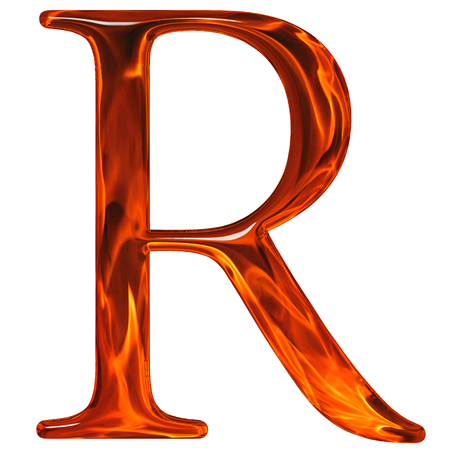 Uppercase letter R - the extruded of glass with pattern flame, isolated on white background Reklamní fotografie
