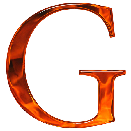 Uppercase letter G - the extruded of glass with pattern flame, isolated on white background