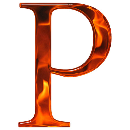 Uppercase letter P - the extruded of glass with pattern flame, isolated on white background