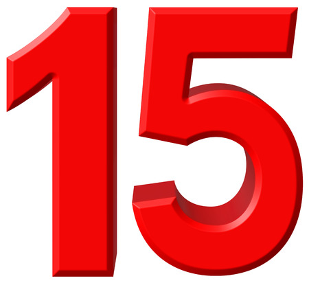 Numeral 15, fifteen, isolated on white background, 3d render Stock Photo
