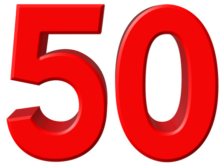 5.0: Numeral 50, fifty, isolated on white background, 3d render