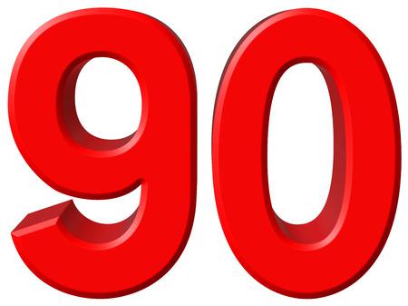 数字 90、90、白い背景、3 d のレンダリングの分離