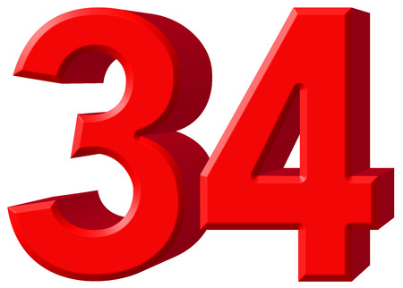 Numeral 34, thirty four, isolated on white background, 3d render Stock Photo