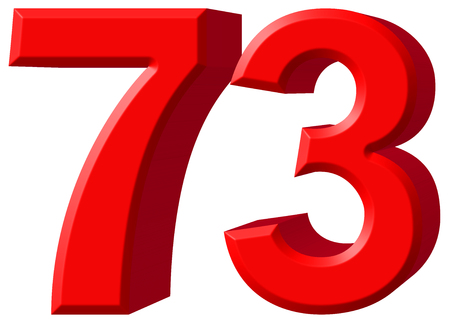 tridimensional: Numeral 73, seventy three, isolated on white background, 3d render Stock Photo