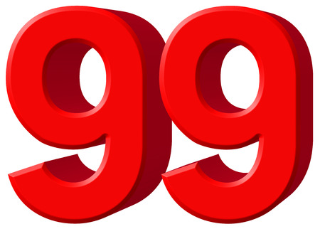 ninety: Numeral 99, ninety nine, isolated on white background, 3d render Stock Photo