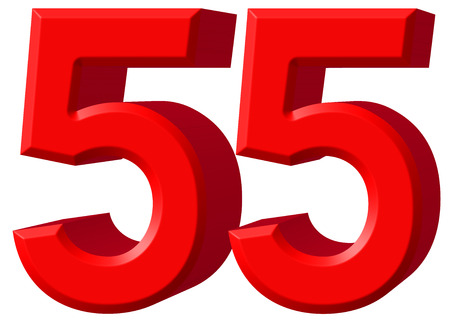 Numeral 55, fifty five, isolated on white background, 3d render Stock Photo