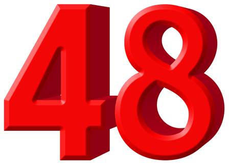 Numeral 48, forty eight, isolated on white background, 3d render Stock Photo