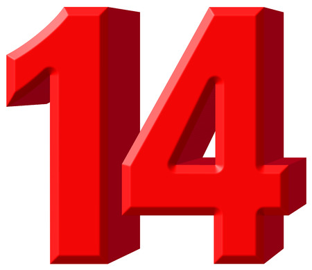 Numeral 14, fourteen, isolated on white background, 3d render