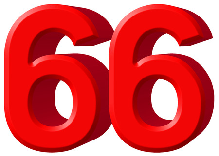 Numeral 66, sixty six, isolated on white background, 3d render