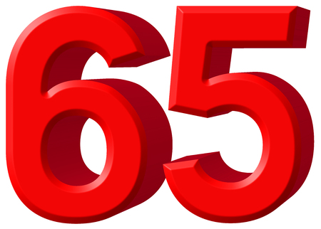 Numeral 65, sixty five, isolated on white background, 3d render