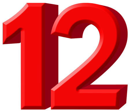 Numeral 12, twelve, isolated on white background, 3d render Stock Photo