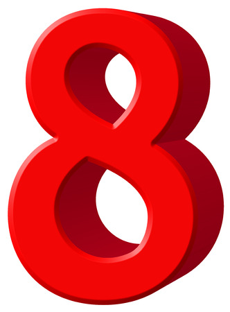 Numeral 8, eight, isolated on white background, 3d render