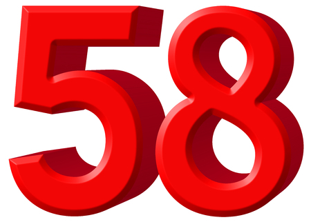 Numeral 58, fifty eight, isolated on white background, 3d render Stock Photo