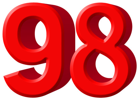 Numeral 98, ninety eight, isolated on white background, 3d render