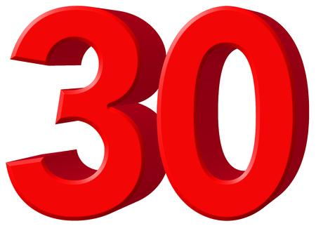 数字 30、30、白い背景、3 d のレンダリングの分離