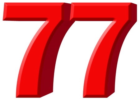 tridimensional: Numeral 77, seventy seven, isolated on white background, 3d render