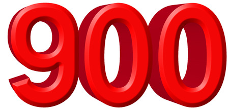 Numeral 900, nine hundred, isolated on white background, 3d render