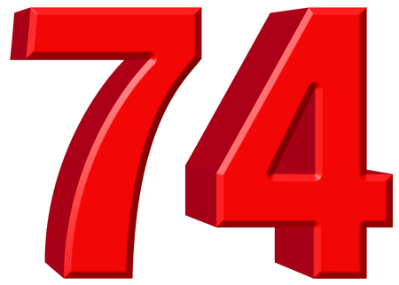 Numeral 74, seventy four, isolated on white background, 3d render Stock Photo