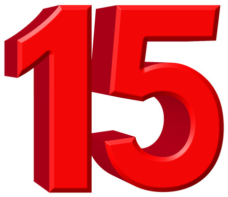 fifteen: Numeral 15, fifteen, isolated on white background, 3d render Stock Photo