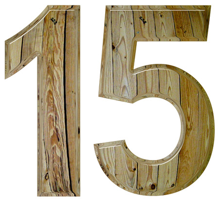 tridimensional: Numeral 15, fifteen, isolated on white background, 3d render Stock Photo