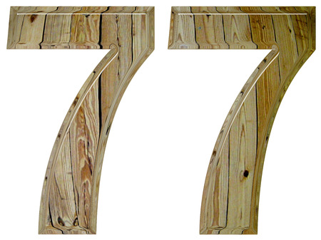 seventy: Numeral 77, seventy seven, isolated on white background, 3d render