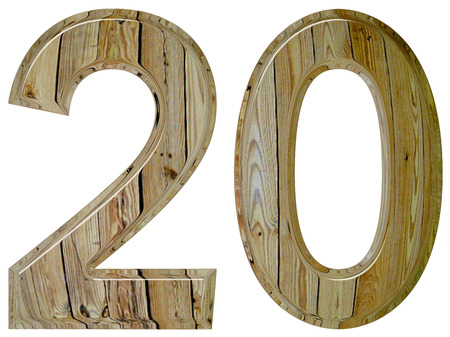 Numeral 20, twenty, isolated on white background, 3d render