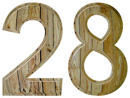 tridimensional: Numeral 28, twenty eighte, isolated on white background, 3d render Stock Photo