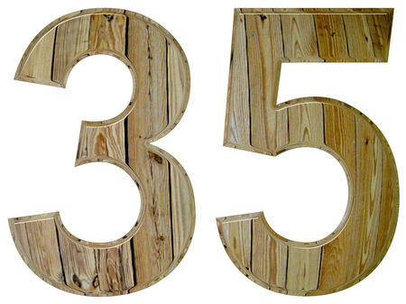 Numeral 35, thirty five, isolated on white background, 3d render