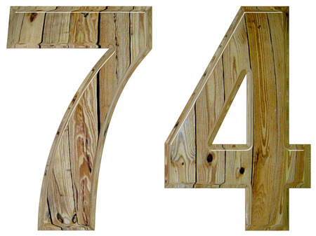 seventy: Numeral 74, seventy four, isolated on white background, 3d render Stock Photo