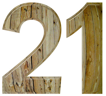 Numeral 21, twenty one, isolated on white background, 3d render Stock Photo