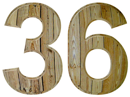 Numeral 36, thirty six, isolated on white background, 3d render