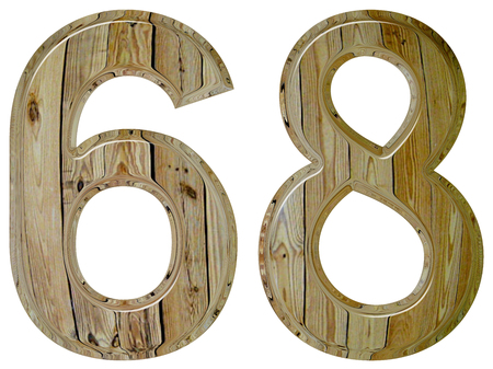 Numeral 68, sixty eight, isolated on white background, 3d render