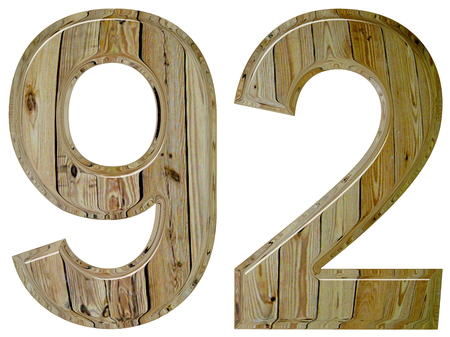 Numeral 92, ninety two, isolated on white background, 3d render Stock Photo