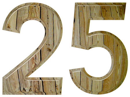 tridimensional: Numeral 25, twenty five, isolated on white background, 3d render